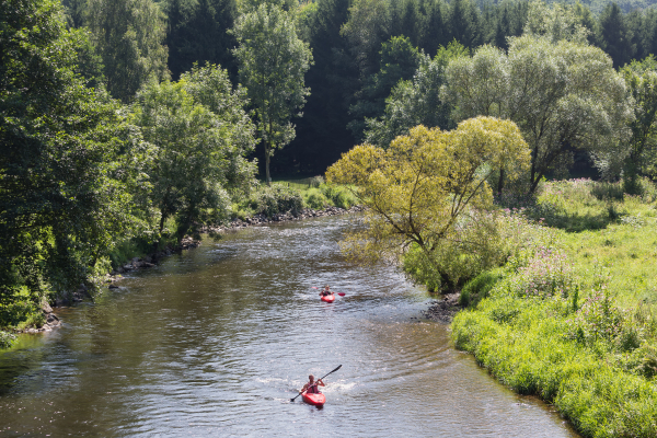 Kayaking on the Ourthe finishing in Hamoir